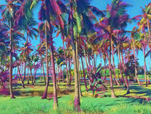 Tropic landscape with coco palm trees. Fantastic digital illustration of palm tree forest. Royalty Free Stock Photo