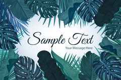 Tropic leaves background with frame for your text. Eps10 vector template. Tropic leaves background with frame for your text. Eps10 vector template Stock Illustration