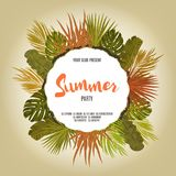 Tropic leaves background with frame for your text. Eps10 vector template. Tropic leaves background with frame for your text. Eps10 vector template Vector Illustration