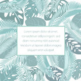 Tropic leaves background with frame for your text. Exotic banner template. Royalty Free Stock Photo