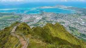 Tropic mountain peck view. Haiku stairs top of stairway to heaven trail hike oahu island Hawaii Kailua Kaneohe city bay view Stock Photos