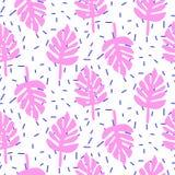 Tropic palm monstera pink leaves seamless pattern. Stock Photo