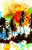Tropic paradise. Palm tree beach scenic with airbrushed floral scroll leaves and distressed texture Stock Photography