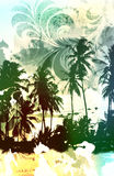 Tropic paradise. Palm tree beach scenic with airbrushed floral scroll leaves and distressed texture Royalty Free Stock Photos