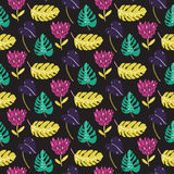 Tropic pattern with leaves and exotic flowers. Dark background, seamless texture with hand drawn illustrations Stock Images