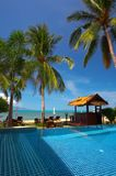 Tropic pool. View of tropical resort swimming pool scene early in the morning stock image