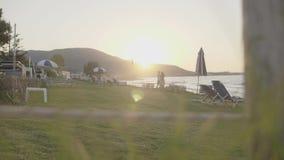 Tropic Resort View. Tropic resort pool against sealine and daybreak light in morning stock video footage