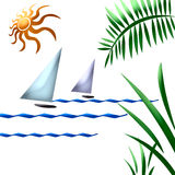 Tropic sailboat art Stock Images