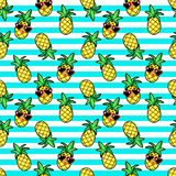 Tropic seamless pattern in cartoon trendy style. Royalty Free Stock Images