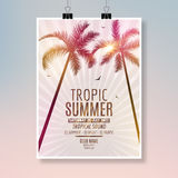 Tropic Summer Beach Party Flyer design. Poster summer vacation template Stock Photos