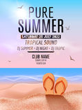 Tropic Summer Beach Party. Tropic Summer vacation and travel. Tropical poster colorful background island. Music summer Stock Photography