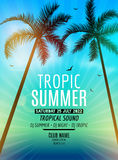 Tropic Summer Beach Party. Tropic Summer vacation and travel. Tropical poster colorful background and palm exotic island. Music summer party festival. DJ Royalty Free Stock Photography