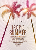 Tropic Summer Beach Party. Tropic Summer vacation and travel. Tropical poster colorful background and palm exotic island Stock Image
