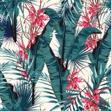 Tropic summer painting seamless vector pattern with palm banana leaf and plants. Floral jungle protea paradise flowers. stock illustration