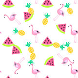 Tropic summer seamless white pattern. Royalty Free Stock Photography