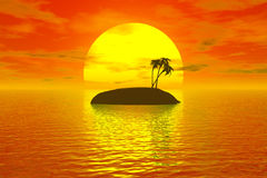 Tropic sunset. With palm island Vector Illustration