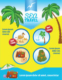Tropic Travel Vector Template with Palms Stock Photos