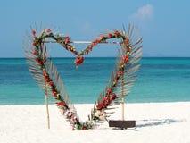 从红色的心脏开花在夏天海洋海滩背景的棕榈叶 华伦泰,爱,婚姻的概念 清楚的天空,美丽的tropica 库存图片