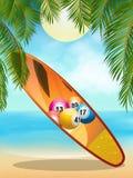 Tropica beach with bingo surfboard Royalty Free Stock Photos