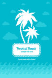 Tropica beach palms sign with clouds and sea waves Stock Photos