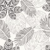 Tropica deja la mano dibujada en el esquema blanco y negro para el colorin Fotografía de archivo