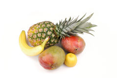 Tropical. Fruits isolated on white Stock Photos