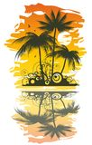 Tropical abstract background. With palms and sunset Royalty Free Illustration