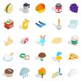 Tropical additive icons set, isometric style. Tropical additive icons set. Isometric set of 25 tropical additive vector icons for web isolated on white Royalty Free Stock Photography