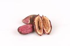 Tropical almond, Bengal almond, Indian almond, Sea almond, Beach almond (Terminalia catappa).seeds. Royalty Free Stock Images