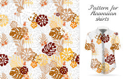 Tropical aloha pattern. Vector. Hawaiian exotic flowers pattern on shirt mockup. Vector plants and flowers seamless background. Brown orange color tropical Stock Image