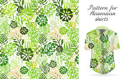 Tropical aloha pattern. Vector. Hawaiian exotic flowers pattern on shirt mockup. Vector plants and flowers seamless background. Green color tropical florals Stock Image