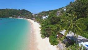 Tropical Ao Yon Beach at Cape Panwa. HD Aerial. Phuket, Thailand. stock video