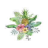 Tropical arrangement with flowers and pineapple. Beautiful watercolor tropical arrangement with flowers and pineapple. Nice watercolor element with tropical royalty free illustration