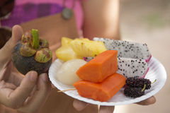 Tropical Asian fruits on the plate Royalty Free Stock Photo