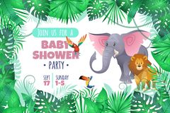Tropical baby shower. Elephant lion in jungle, african young adorable wild animal and south palm tree leaves cartoon royalty free illustration