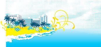 Tropical background. Vector background with tropical palms and floral elements on abstract hotel buildings Stock Photography
