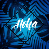 Tropical background with Aloha lettering. Tropic card with exotic rainforest leaves Stock Image