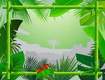 Tropical Background with Bamboo Frame Stock Photography