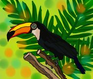 Illustration of a bright tropical bird Toucan on a floral leaves vector illustration