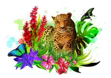 Tropical background with butterflies, leopard and flowers. stock photo