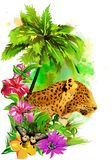 Tropical background with butterflies, leopard and flowers. royalty free stock photography