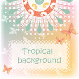 Tropical background with butterflies Royalty Free Stock Photography