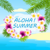 Tropical background, card with inscription aloha summer. Tropical background with flowers and palm leaves, card with inscription aloha summer Royalty Free Stock Images
