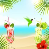 Tropical Background with Cocktails Royalty Free Stock Photos