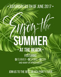 Tropical background with exotic palm leaves. Enjoy the summer party poster or flyer design. Vector illustration Stock Photography