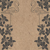 Tropical background with flamingo and orchids on kraft paper. Ca Stock Photo