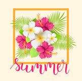 Tropical background. Frame background with tropical flowers and leaves. Handwritten modern calligraphy `summer Stock Images