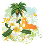 Tropical background with guitar Royalty Free Stock Image