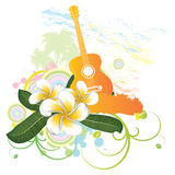 Tropical background with guitar Stock Images