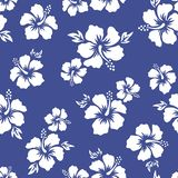 Tropical background with hibiscus flowers. Seamless hawaiian pattern. Exotic vector illustration. Blue background royalty free illustration